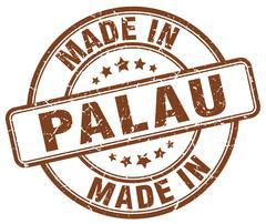 Made in Palau brown grunge round stamp Stock Illustration
