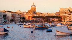 Kalkara, Malta- View on Dahla tal-Kalkara with bay boats and Stock Footage