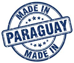 made in Paraguay blue grunge round stamp - stock illustration