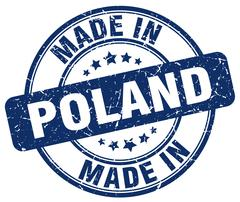 made in Poland blue grunge round stamp - stock illustration