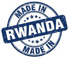 Made in Rwanda blue grunge round stamp Stock Illustration