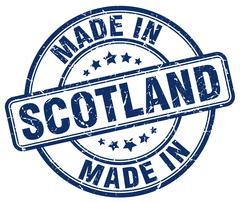 made in Scotland blue grunge round stamp - stock illustration