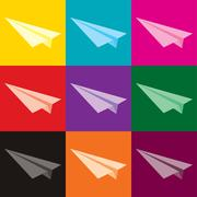 Paper white plane. The beginning of the way. - stock illustration