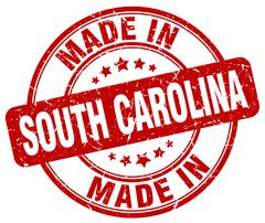 made in South Carolina red grunge round stamp - stock illustration