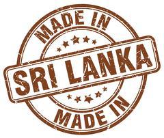 made in Sri Lanka brown grunge round stamp - stock illustration