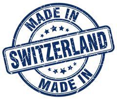 made in Switzerland blue grunge round stamp - stock illustration
