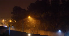 Severe storm. Night. Rain. With Sound. Lightning. City view Stock Footage
