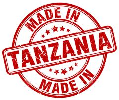 Made in Tanzania red grunge round stamp Stock Illustration