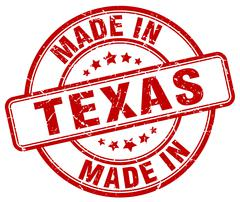 made in Texas red grunge round stamp - stock illustration