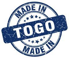 Made in Togo blue grunge round stamp Stock Illustration