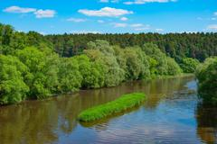Summer landscape with river - stock photo