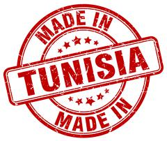 Made in Tunisia red grunge round stamp Stock Illustration