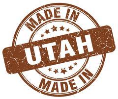 Made in Utah brown grunge round stamp Stock Illustration
