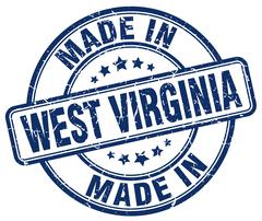 Made in West Virginia blue grunge round stamp Stock Illustration