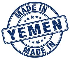 Made in Yemen blue grunge round stamp Stock Illustration