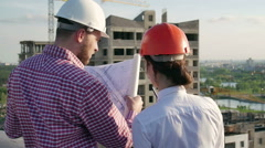 Architect and engineer discuss the project Stock Footage