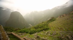 Inca terrace. Machu Picchu in Peru Stock Footage