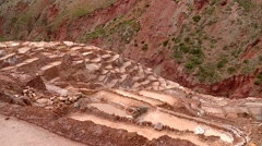 MARAS, PERU: Salt evaporation pond (Cusco in andean landscape) - stock footage