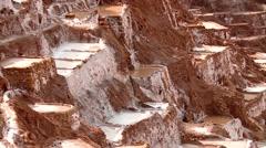 Salt evaporation pond, Maras, Peru Stock Footage