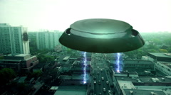Aerial tracking shot of an alien craft attacking a city - stock footage