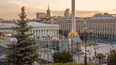 Downtown of Kyiv City near the Independence Square and Khreshchatyk Street - stock footage
