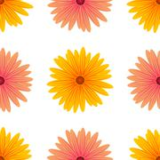 Spring Pink Yellow Flowers Isolated - stock illustration