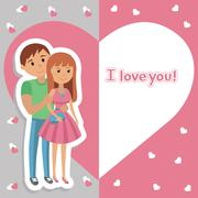 Vector picture with congratulations for the holiday. Illustration of young Stock Illustration