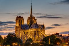 Backside of Notre Dame at dawn Stock Photos