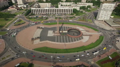 SAINT-PETERSBURG, RUSSIA - JUNE 2016 - Aerial view of Victory square 'Ploschad Stock Footage