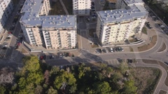 Residential buildings construcion site aerial Stock Footage