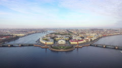 Aerial view of the spit of Vasilievsky island in Saint-Petersburg Stock Footage