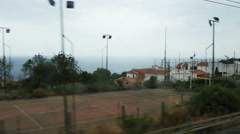 View of the Italian marine landscape from the train window (in motion Stock Footage