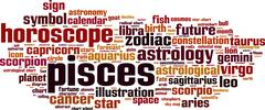 Pisces word cloud Stock Illustration