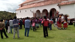 PERU: People at procession in the village of Chincheros Stock Footage
