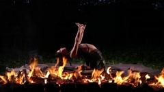 Night fire dance Stock Footage