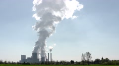 TIME LAPSE: coal-fired power station with steam from the cooling towers Stock Footage