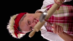 Housewife playing with kitchen utensils Stock Footage