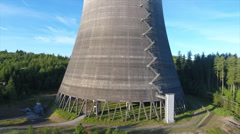 Nuclear Power Plant Cooling Tower Aerial - stock footage