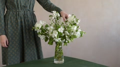 Woman takes a twig out of the vase Stock Footage