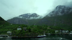 Time Lapse in Norwegian fjords with village Stock Footage