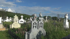 Beautiful orthodox cross cemetery christian tomb old tombstone funeral grave day Stock Footage