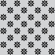 Floral pattern with alternate black and white flowers on grey background - stock illustration