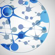 Vector biotechnology illustration. Science design molecule, formula, DNA Stock Illustration