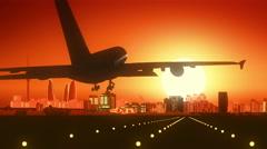 Baku Azerbaijan Airplane Landing Skyline Golden Background - stock footage