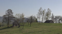 Amazing mountain shore rural shelter isolated house green hill idyllic place day Stock Footage