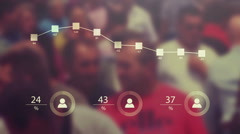 Population statistical data overlaying blur crowded street detail Stock Footage