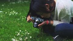 Asian beautiful photogrpaher Stock Footage