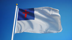 Christian flag in slow motion seamlessly looped with alpha Stock Footage