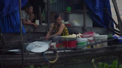 View of boat restaurant at the Cai Rang traditional floating market Stock Footage