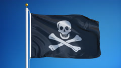 Pirate flag in slow motion seamlessly looped with alpha Stock Footage